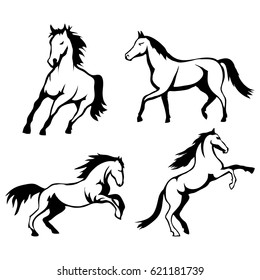 Vector set of black horses and mustang logo Isolated on white background
