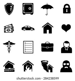 Vector Set of Black Insurance Icons