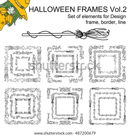 Vector Set Black Line Halloween Frames Stock Vector (Royalty Free ...