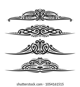 Vector set of black page dividers for greeting text, 4 filigree separators of indian style for wedding title, design elements for create border, ornate decorations with flourishes ornament on white.