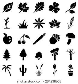 Vector Set of Black Plants Icons