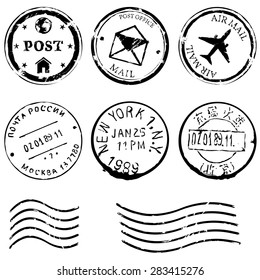 Vector Set of Black Postal Stamps. Mail, post office, air mail, russian post, american post, new york, china post, wave stamp.
