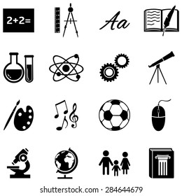 Vector Set of Black School Subjects Icons.
