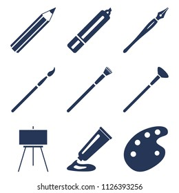Vector Set of Black Silhouette Art Icons. Painting and Writing Tools