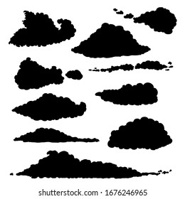 Vector Set of Black Silhouette Clouds