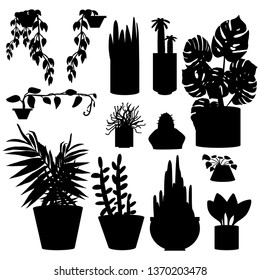 Vector set black silhouette of home flowers in pots