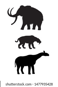 Vector set of black silhouette of prehistoric animals: mammoth, saber-toothed tiger and indricotherium isolated on white background