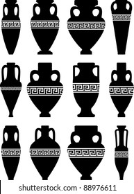 Vector set of black silhouettes of ancient amphorae and vases with traditional Greek abstract meander pattern - isolated illustration on white background