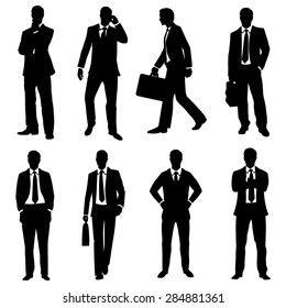 Vector Set of Black Silhouettes of Business People
