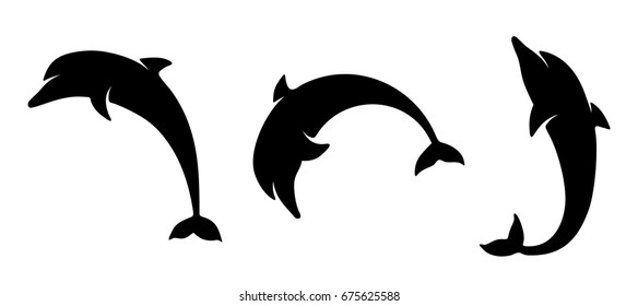 Vector set of black silhouettes of dolphins isolated on a white background.