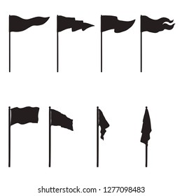 Vector Set of Black Silhouettes Flags. Different Forms of Flag.