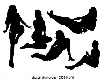 Vector set of black silhouettes of girls in sitting poses full growth. Women poses on a white background in vector format.