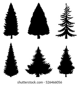 Vector Set of Black Silhouettes of Pine Trees on White Background