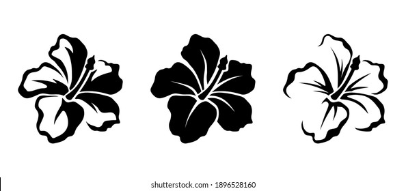 Vector set of black silhouettes of tropical hibiscus flowers isolated on a white background.