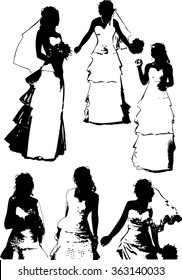 Vector set of black silhouettes of a young girl with beautiful hairstyle, wedding dress and with a bouquet of flowers, on a belt, on a white background in a vector. The girl at the wedding