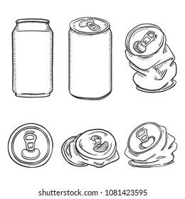 Vector Set of Black Sketch Aluminium Can Illustrations