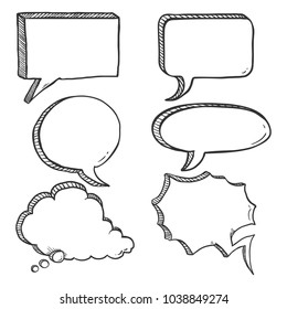 Vector Set of Black Sketch Comics Speech Bubbles. Penciling Hand Draw Comix Balloons.