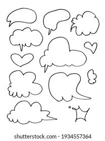 Vector Set of Black Sketch Comics Speech Bubbles.bubble dialog doodle vector line message .vector illustration.
