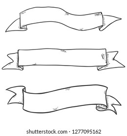 Vector Set of Black Sketch Ribbons. Blank Banners.