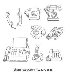 Vector Set of Black Sketch Telephones and Handsets. Collection of Phones.