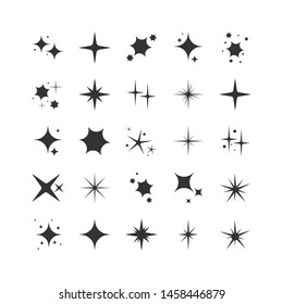 Vector set of black sparkles. Collection of star sparkles symbol.