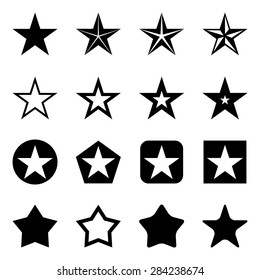 Vector Set of Black Star Icons