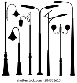Vector Set of Black Street Lights Silhouettes