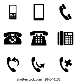 Vector Set of Black Telephone Icons