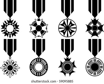 Vector Set Of Black War Medals - Black and White