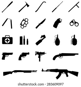 Vector Set of Black Weapon Icons