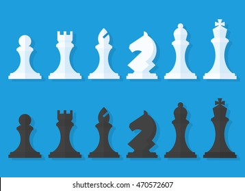 Vector set of black and white chess pieces in a flat style isolated from the background. Chess pieces including the king, queen, bishop, knight, rook and pawn.
