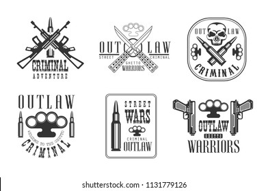 Vector set of black and white emblems related to ghetto theme. Outlaw life. Labels with brass knuckles, weapon, bullets and skull