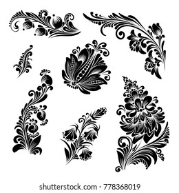 vector set of black and white flowers in ethnic style for decoration and design, beautiful flowers stylized for folk painting