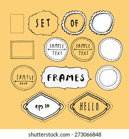 Vector set of black and white hand drawn retro style frames on yellow background