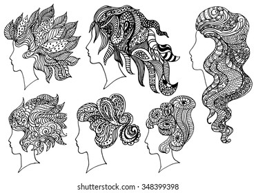 vector set of black and white hand drawn women girl  head with exotic floral haircut zentangle  sketch tattoo