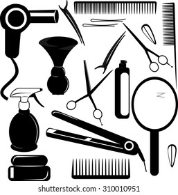 vector set of black and white icons with Barber tools