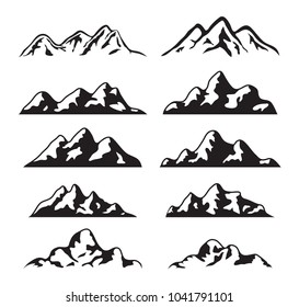 vector set of black and white mountain silhouette icons. logo collection of rocky snow mountains