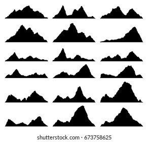 vector set of black and white mountain silhouettes. background border of rocky mountains