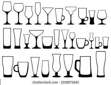 Vector set of black and white silhouettes of glass glasses for alcoholic and nonalcoholic, hot and cold drinks. Dishes for restaurants, cafes, bars and home use.