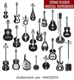 Vector set of black and white string plucked musical instruments in flat design. Guitars and other instruments isolated on white background.