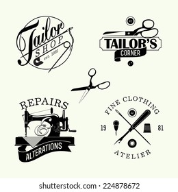 Vector set of black and white stylish tailor shop, cloth repair and alteration shop and atelier insignia | Retro looking stylish dressmaking shop emblems