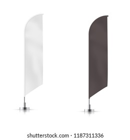 Vector set of    black and white waving advertisement  banner flag.  Vector mock-up.
