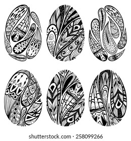 Vector set  of black-and-white easter eggs decorated with paisley ornament. Easter eggs isolated on white background.
