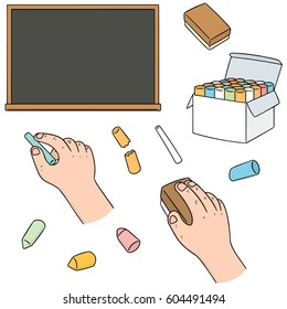 Hand with Chalk Eraser Stock Illustrations, Images & Vectors