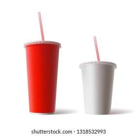 Vector Set of Blank Big Small Red and White Paper Cardboard Cups For Tea Coffee Soda Cola Soft Drinks with Tube Straw Isolated on White Background. Fast Food