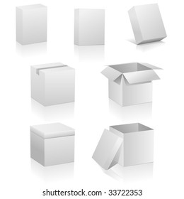 Vector set of blank boxes isolated on white background.