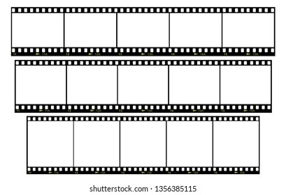 Vector set of blank film frames with various aspect ratio