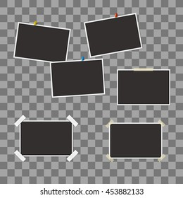 Vector set of blank photo frames with different elements, shadow effects and empty space for your photo and picture. Isolated illustration on transparent background. Easy to use and edit design