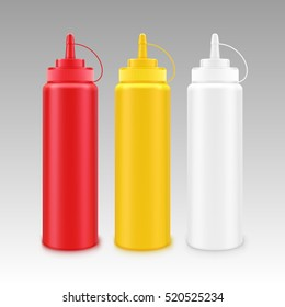 Vector Set of Blank Plastic White Red Yellow Mayonnaise Mustard Ketchup Bottle for Branding without label Isolated on Background