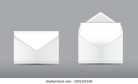 Vector Set of blank realistic envelopes mockup. Open envelope with blank paper